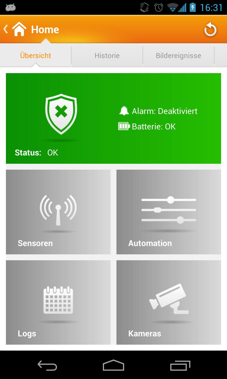 Android APP für Alarmanlage