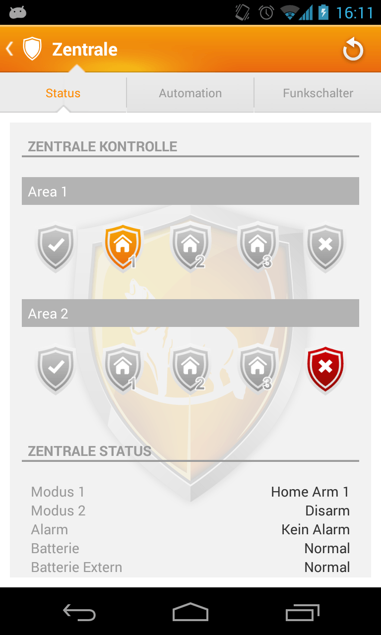 Lupusec XT2 - Android APP für Alarmanlage